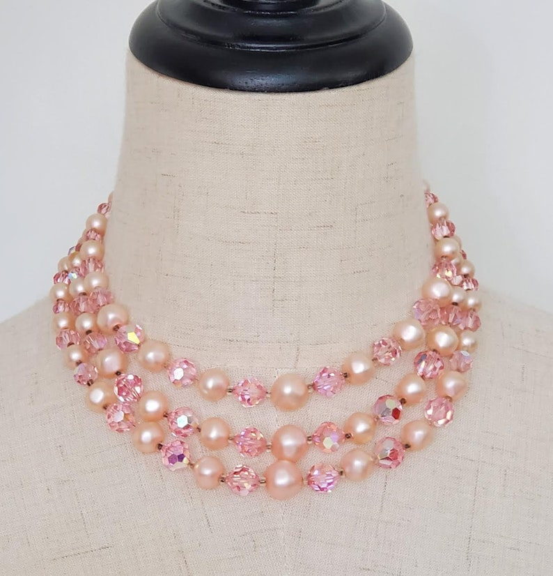 Vintage 1960/'s LAGUNA petal Pink triple strand Pearl Necklace