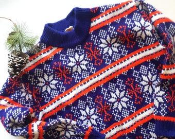 Vintage 70s Snowflake Sweater, Vintage Ski Sweater