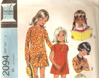 VINTAGE McCall's Sewing Pattern 2094 - Children's Clothes - Girl's Dress, Size 7