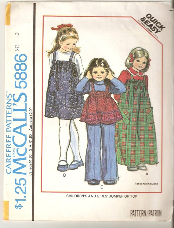 VINTAGE McCall\'s Sewing Pattern 5886 Children\'s | Etsy