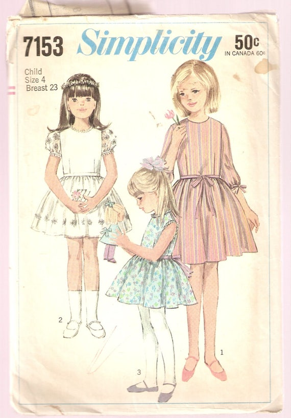 VINTAGE Simplicity Sewing Pattern 7153 Children\'s | Etsy