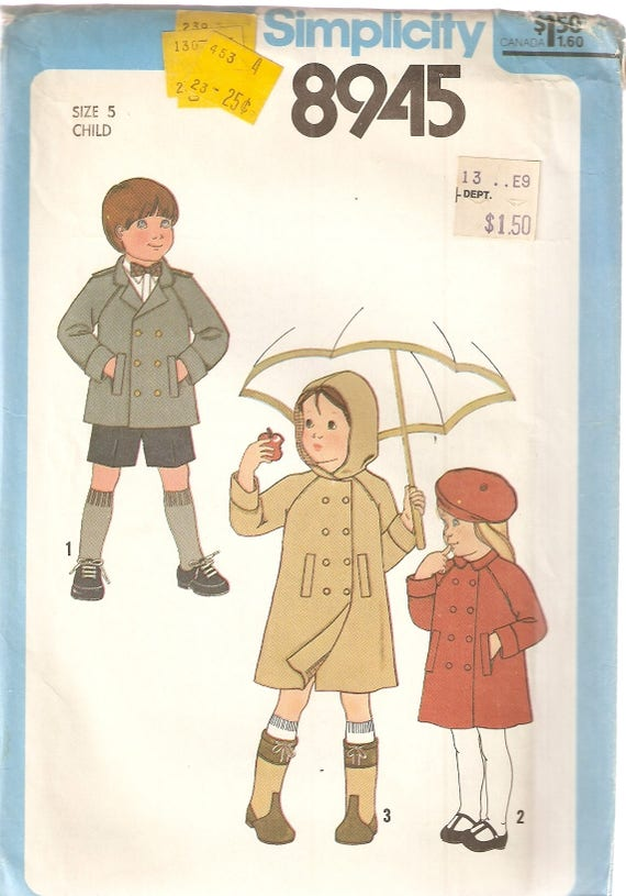 1d7015243ca8db VINTAGE Simplicity Sewing Pattern 8945 Children s
