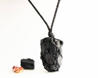 Raw tourmaline necklace, raw black tourmaline necklace, raw black tourmaline pendant, tourmaline jewelry, jet black, Crystal Necklaces