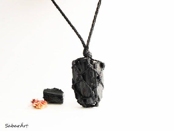 Raw tourmaline necklace, raw black tourmaline necklace, raw black  tourmaline pendant, tourmaline jewelry, jet black, Crystal Necklaces