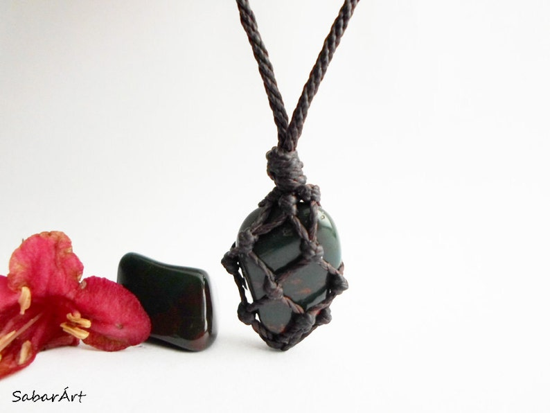 Bloodstone pendant man's necklace gift for him Blood image 1
