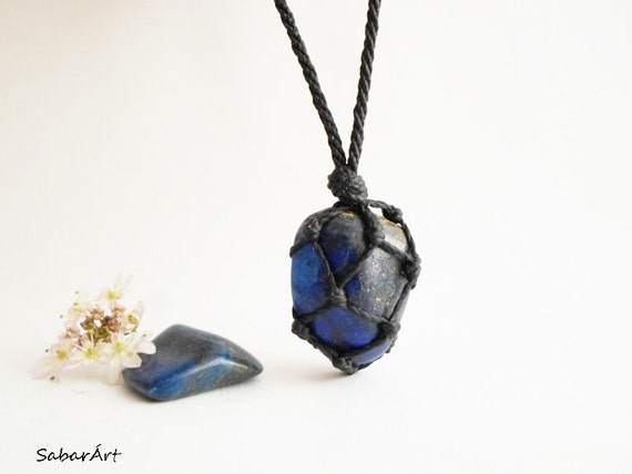 Stone Necklace Mens Lapis Pendant on Leather Cord Mens Lapis Lazuli Necklace Mens Boho Necklace Gifts for Him Rustic Jewelry for Men