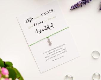 Cactus Wish Bracelet - Cactus String Bracelet - Cactus Charm Bracelet - Life is like a Cactus Quote - Rude Love Card - Rude Gift