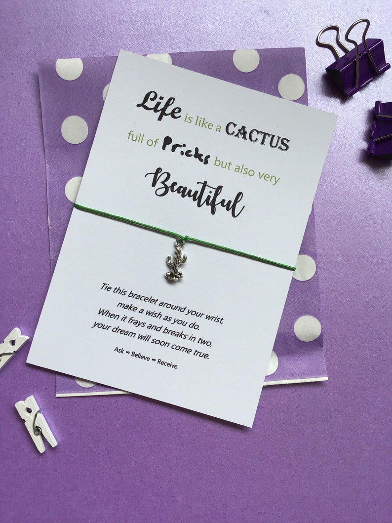 Rude Love Card Rude Gift Cactus String Bracelet Cactus Wish Bracelet Cactus Charm Bracelet Life is like a Cactus Quote
