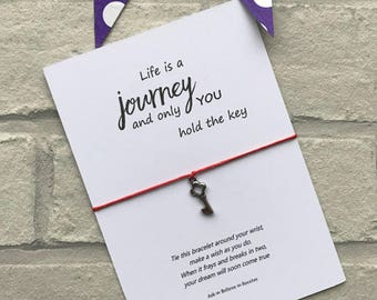 Life is a journey, key wish bracelet, charm string bracelet, tibetan silver charm string wish bracelet. Ideal gift
