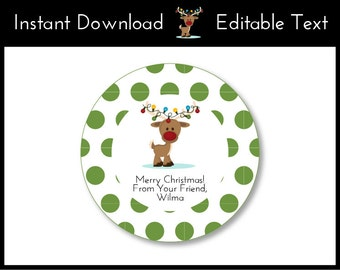 Reindeer Favor Tags, Cupcake Toppers, Reindeer Gift Tags, Christmas Labels, Holiday Favor Tags, Holiday Labels, Christmas Favor Tags, Topper