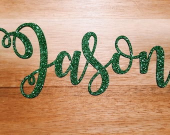 Personalised Glitter Christmas Place Names or Gift Tags   Gold, Silver, Red, Green   Perfect for Festive Events & Dinner Table Settings