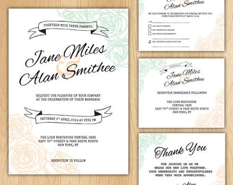 Floral Wedding Invitation Package - Printable Digital Files ONLY