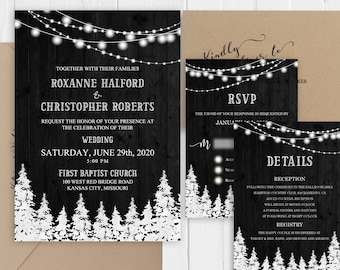 Rustic winter wedding invitations Charcoal grey barn wood pine trees string lights Wedding Invitation Suite SC668(120LB premium card stock)