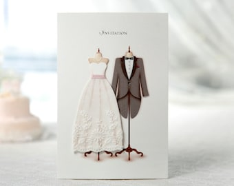 Handmade Wedding Invitations Elegant Fabric Lace Dress Tuxedo Cards All in one wedding Invitation RSVP Envelope Seal  Free Shipping  SW3027