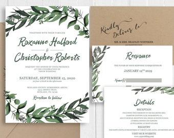 Watercolor Boho Green Wedding Invitation Eucalyptus Leaves Greenery Wedding Set Printed Invite Belly Band SC629(120LB premium card stock)