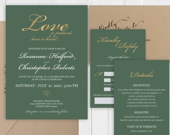 Hunter Green Gold Wedding Invitation Set Gold Glitter Printed Wedding Invite RSVP Details Bridal Shower SC638(120LB premium card stock)