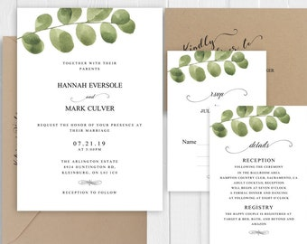 Greenery Invitation Set