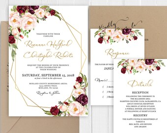 Wedding Invitation Elegant Burgundy Blush Floral Gold Wedding Invitation Set Printed Invite RSVP Details SC639(120LB premium card stock)