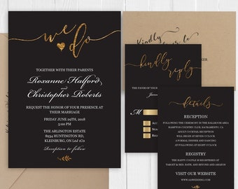 Elegant Black Gold Wedding Invitation Set Gold Calligraphy Printed Wedding Invite RSVP Details Thank you SC480(120LB premium card stock)