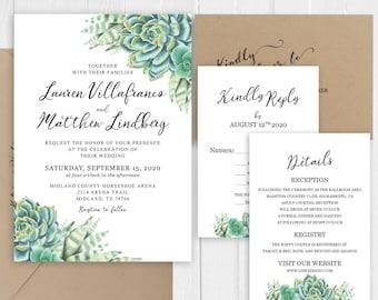 Green Cactus Wedding Invitation Succulent Wedding Invitation Set Printed Invite RSVP Menu Bridal shower Cards SC653(120LB premium card stock