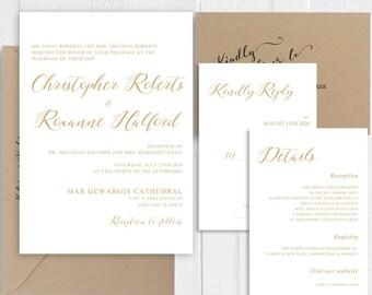 Wedding Invitation Elegant Gold Calligraphy Wedding Invitation set Printed Invite RSVP Details Shower Cards SC692(120LB premium card stock)