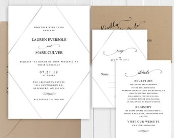 Wedding Invitation Simple Black and White Wedding Invitation Minimalist Calligraphy Printed Invite Suite SC705(120LB premium card stock)