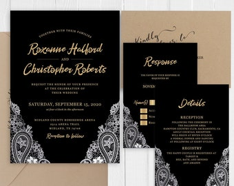 Black Gold Lace Wedding Invitations Faux Gold Calligraphy Printed Wedding Invite RSVP Details Thank you SC649(120LB premium card stock)