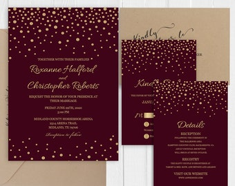 Burgundy Wedding invitation Gold calligraphy confetti Invitation RSVP Thank You Details Accommodation cards -SC446(120LB premium card stock)