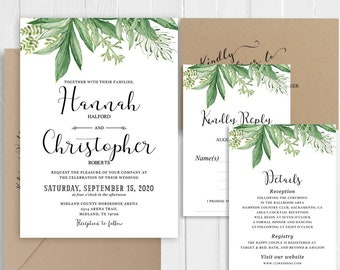 Tropical Wedding Invitation Greenery Wedding Invitation Set Garden Green Leaf Wedding Printed Invite Suite SC701(120LB premium card stock)