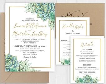 Greenery Wedding Invitation Succulent Wedding Invitation Set Green Cactus Gold Wedding Printed Invite Set SC654(120LB premium card stock)