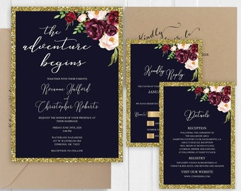 Wedding Invitations Faux Gold Navy Marsala wedding invitation The adventure begins Printed Invite Set SC687(120LB premium card stock)