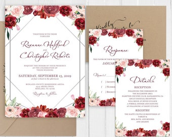 Wedding Invitation Burgundy and Silver Wedding Invitation Set Dusty Red Blush Printed Invite RSVP Details SC890(120LB premium card stock)