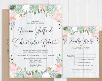 Greenery Succulents Cactus Blush Floral Wedding Invitation Barn Boho Wedding Printed Invite Set SC958(120LB premium card stock)