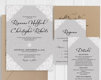 Wedding Invitation Vintage Lace and Rustic linen Light Gray Blue Thick Flat Invitations Printed Invite Set SC677(120LB premium card stock)