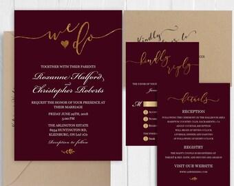 Burgundy wedding invitation Set Elegant gold calligraphy Invitations Printed Invite RSVP Details Map Cards SC478(120LB premium card stock)