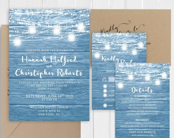 Rustic Wedding Invitation Sky blue Powder blue Wood Country Wedding Invitation Set Printed Invite Suite SC702(120LB premium card stock)