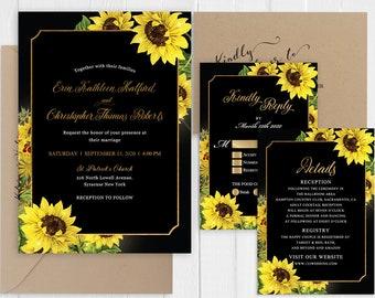 Sunflower Gold Wedding Invitation Black Gold Sunflowers Wedding Invitation set Printed Invite RSVP Details SC875(120LB premium card stock)