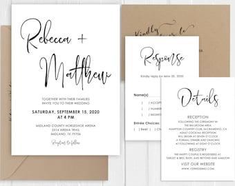Black White Wedding Invitation Modern Simple Minimalist Calligraphy Wedding Invitations Printed Invite Set SC852(120LB premium card stock)