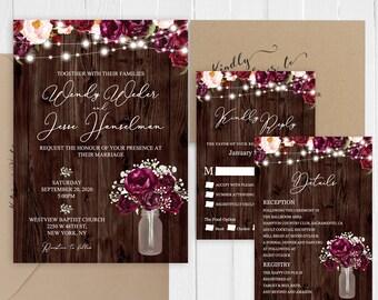 Rustic Wedding Invitation Baby's Breath Burgundy Mason jar Country Wedding Invitation Set Printed Invite SC922(120LB premium card stock)