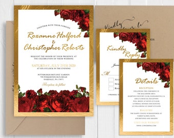 Wedding Invitation Romantic Red Roses Garden Floral Wedding Invitation Faux Gold Printed Invite RSVP Cards SC678(120LB premium card stock)