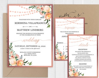 Rose gold  Blush Peach Floral Wedding Invitation Spring Summer Wedding Printed Invite RSVP Details Menu Map SC736(120LB premium card stock)