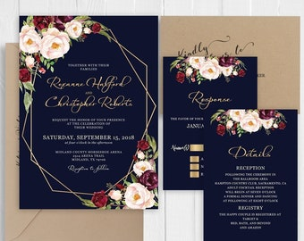 Burgundy Blush Floral  Wedding Invitations Elegant Navy Gold Printed Invite RSVP Belly Band Bridal Shower SC640(120LB premium card stock)