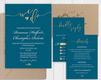 Teal Dark Turquoise wedding Invitation Set Elegant gold calligraphy Invitations Printed Invite RSVP Details SC479(120LB premium card stock)