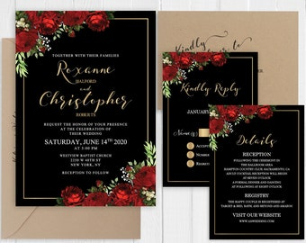 Wedding Invitation Red Roses Black Gold Wedding Invitation Set Romantic Garden Floral Printed Invite Suite SC927(120LB premium card stock)