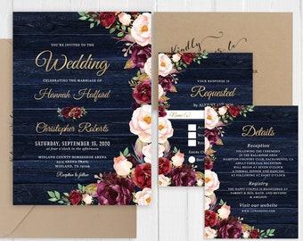 Rustic Wedding Invitation Burgundy Blush Floral Rustic Navy Barn Wood Wedding Invitations Printed Invite Set SC876(120LB premium card stock)