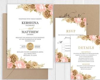 Elegant Gold Glitter Blush Pink Floral Blush Pink Wedding Invitation Set Printed Invite RSVP Map Menu Cards SC959(120LB premium card stock)