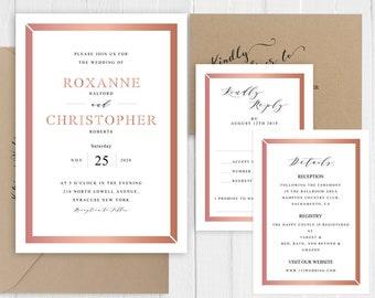 Rose Gold Glitter Wedding Invitation Set Elegant Faux Rose Gold Printed Invite Suite SC896(120LB premium card stock)
