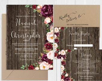 Rustic Wedding Invitation Set Blush Burgundy Red Floral Boho Barn Wood Wedding Invitation Printed Invite Set SC724(120LB premium card stock)