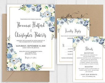 Wedding Invitation Dusty Blue White Ivory Floral Botanical Wedding Invitations Customized Printed Invite Set SC828(120LB premium card stock)