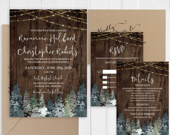 Rustic wedding invitations Rustic Barn wood string lights Evergreen trees Wedding Invitation Suite Printed Invite RSVP Set SC872(120LB)